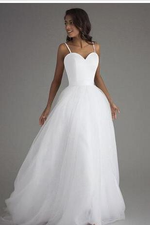 Simple Tulle Wedding Dress with Satin Top 2018 Spaghetti A Line Beach Wedding Dresses