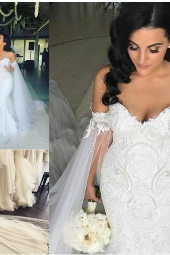 Exquisite Pearls Lace Mermaid Wedding Dresses With Cape Plus Size Garden Country Applique Bridal Gown Train Church Bride Dress Custom