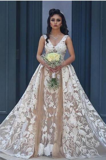 Sexy V-neck Sleeveless Full Lace Champagne Wedding Dresses 2018 Arabic Bridal Gowns With Detachable Overskirt Backless Bride Dress