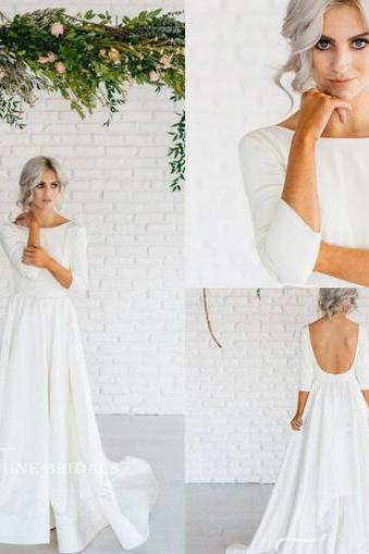 Western Country Bohemian Wedding Dresses Lace Satin Modest Jewel Neck Long Sleeves Long Bridal Gowns Plus Size Dress for Wedding Backless