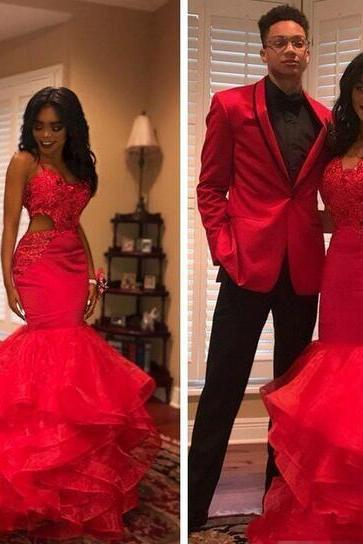 2018 African Black Girl Prom Dresses Sexy Cutaway Lace Appliques Beads Tiered Mermaid Evening Dress Sleeveless Club Party Vestidos