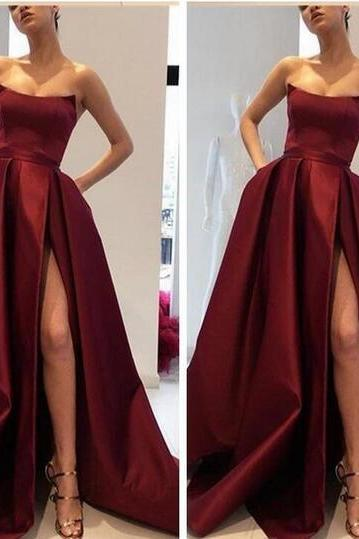 2018 Sexy Split Prom Dresses Party Wear Club Gowns Pleated Satin Custom Formal Evening Party Gowns Cheap Sale Vestidos De Soiree