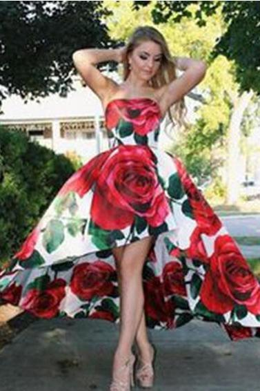 2018 flower printing prom dresses deep strapless prom gowns train Sexy Backless Formal evening dresses long for women