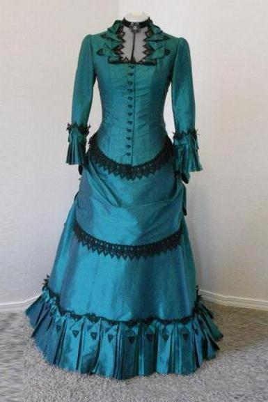 Custom Made Actual Image Turquoise Black Gothic Wedding Dresses with Long Sleeves Lolita Victorian Girl Party Dress Bridal Gowns Plus Size