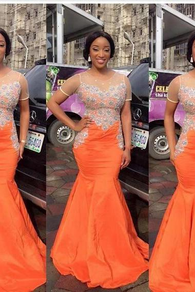 South African Black Girls Orange Mermaid Prom Dresses Sheer Neck Beaded Sequined Top Floor Length Evening Pageant Gowns
