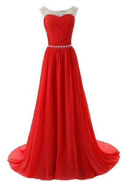 The bride sexy 2016 beaded evening dresses chiffon sleeveless style in summer