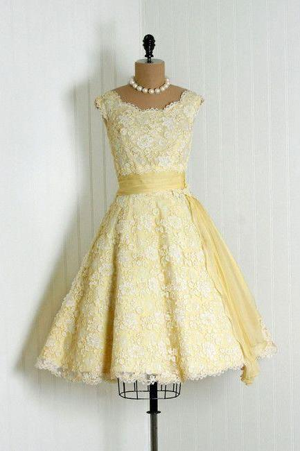 1950S Vintage Ball Gown Homecoming Dresses Scoop Lace Mini Short Cocktail Dress Party Gowns Prom Dress