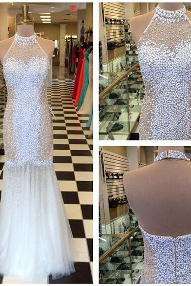 Luxury Mermaid Tulle Prom Dresses High Neck Beading Crystals Evening Dresses Party Gowns Vestidos