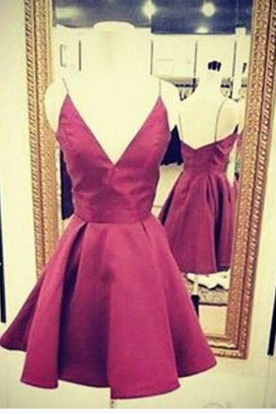A Line Burgundy Satin Prom Dresses V Neck Short Mini Homecoming Dresses Party Dress Graduation Gowns Vestidos
