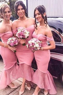 Mermaid Satin Bridesmaid Dresses Off the Shoulder Sleeveless Hilo Prom Dress Party Gowns Formal Dresses Vestidos