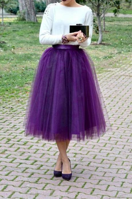 Fashion Street Style Skirt,Tulle Skirt,Charming Women Skirt,spring Autumn Skirt ,A-Line Skirt