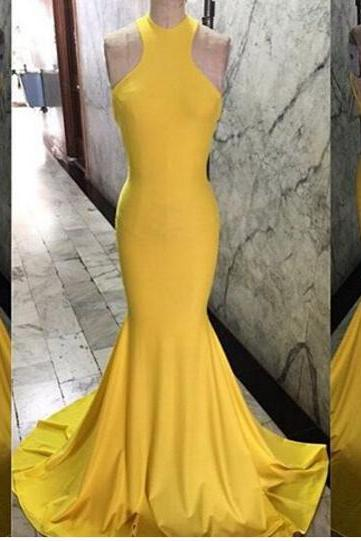 Mermaid Evening Dresses, Yellow Evening Gowns, Sexy Prom Dresses, Long Prom Gowns, Sleeveless Party Dresses, Evening Dress