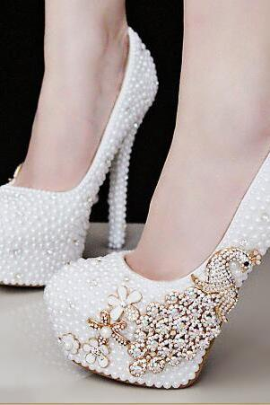 Women Shoes, Ladies Luxury Pearl Crystal Diamond Wedding Shoes, Waterproof Platform Bridal Shoes, High-heeled Shoes Pumps