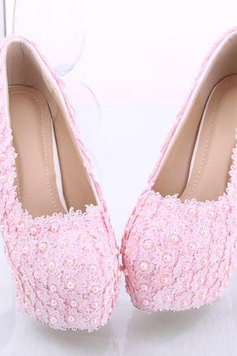 Women Shoes, Light Pink Lace Pearls Wedding Shoes, Waterproof Platform Bridal Shoes, High-heels Shoes Pumps
