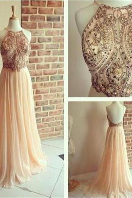 Backless A-line Chiffon Straps Popular Cocktail Evening Long Prom Dresses