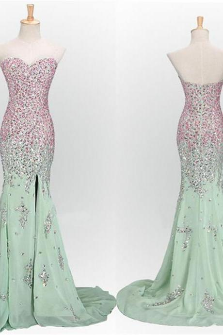 Mint Prom Dresses,Long Prom Dresses, Mermaid Prom Dresses,Sweetheart Prom Dresses, Sparkle Prom Dresses, Popular Prom Dresses,Custom Prom Dresses