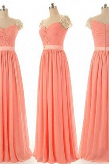 Beautiful Beading Cap Sleeve Sweet Heart Chiffon Inexpensive Long Bridesmaid Dresses, Simple Cheap Prom Dress