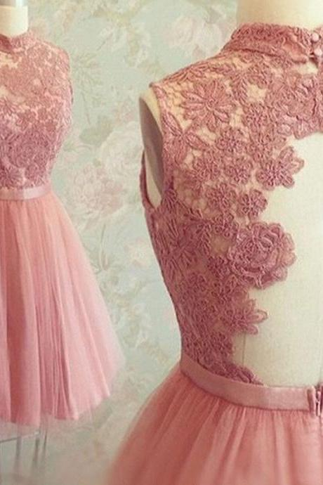 Graceful Open Back High Neck Lace Appliqued Sweet Tulle Homecoming Dresses