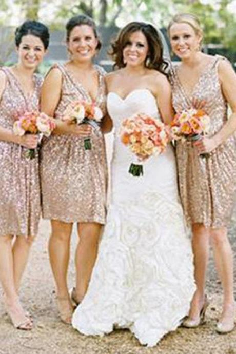 Best Sale Sequin Off Shoulder V-Neck Shinning Knee-Length Inexpensive Free Custom Make Bridesmaid Dress