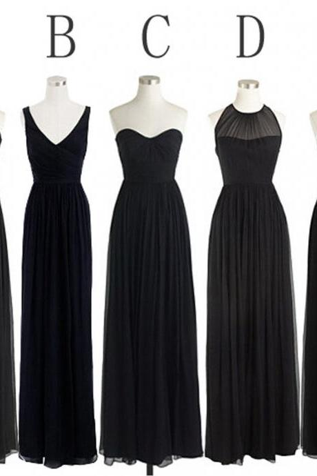 Black Cheap Simple Mismatched Styles Chiffon Floor-Length Formal Long Bridesmaid Dresses