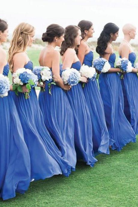 Blue Simple Formal Chiffon Floor Length Wedding Bridesmaid Dresses