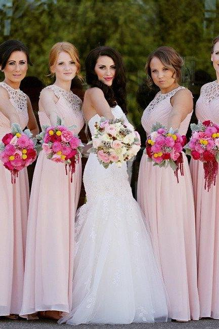Blush Pink Long Chiffon A Line Formal Cheap Wedding Party Bridesmaid Dresses