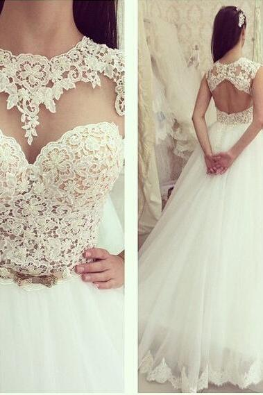 Tulle Wedding Dress,White Bridal Dress, Appliques Lace Wedding Gown