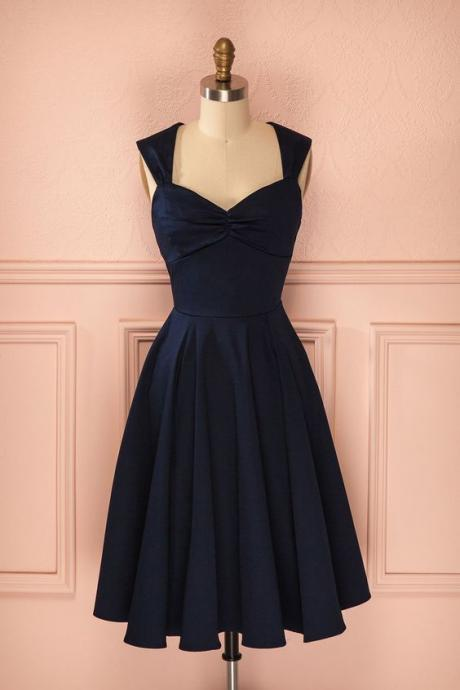 1950S Vintage Prom Dress, Navy Blue Prom Gowns, Mini Short Homecoming Dress