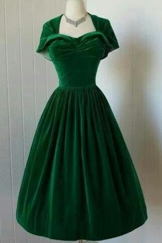 1950S Vintage Prom Dress, Green Velvet Prom Gowns, Mini Short Homecoming Dress