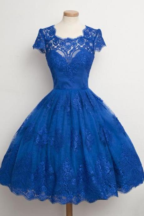 1950S Vintage Prom Dress, Blue Prom Gowns, Mini Short Homecoming Dress, Lace Homecoming Gown