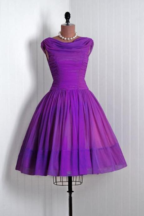 1950S Vintage Prom Dress, Purple Prom Gowns, Mini Short Homecoming Dress
