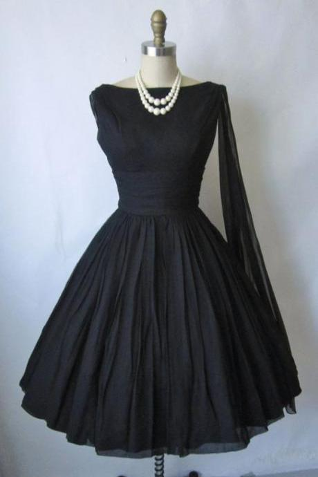 1950S Vintage Prom Dress, Black Prom Gowns, Mini Short Homecoming Dress
