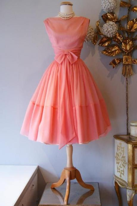 1950S Vintage Prom Dress, Coral Prom Gown, Mini Short Homecoming Dress