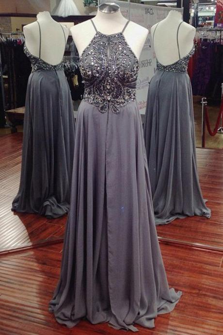 A-line Long Chiffon Beaded Prom Dress Evening Dresses with Backless