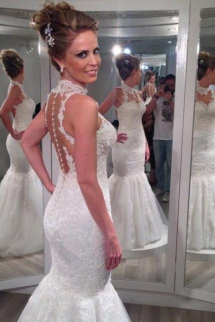 Charming High Neck Sleeveless Lace Mermaid Tulle Wedding Dresses