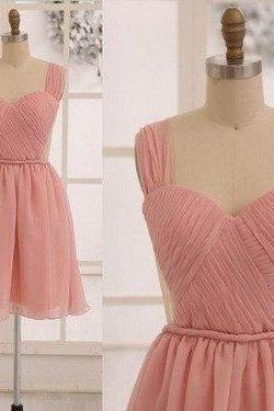 Pink Sleeveless Sweetheart Ruched Chiffon Short Bridesmaid Dress, Homecoming Dress Featuring Open Back