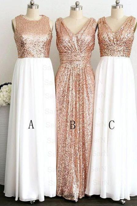 Custom Made Shimmery Sequin Long Evening Dress, Bridesmaid Dress, Prom Dresses, Cocktail Dress, Weddings