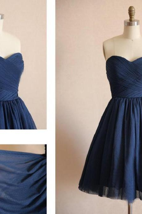 Custom Made Navy Blue Sweetheart Neckline Draped Tulle Evening Dress, Bridesmaid Dress, Homecoming Dresses, Cocktail Dress, Weddings