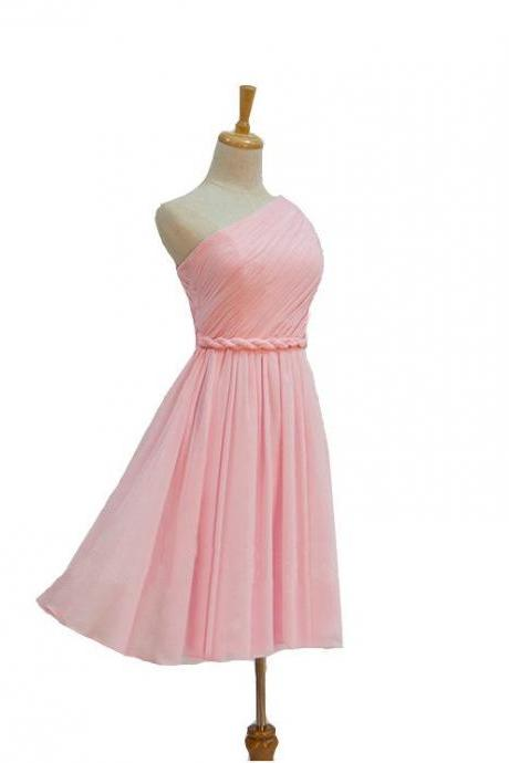 Pink One-Shoulder Ruched Short Bridesmaid Dress, Homecoming Dress, Prom Dress