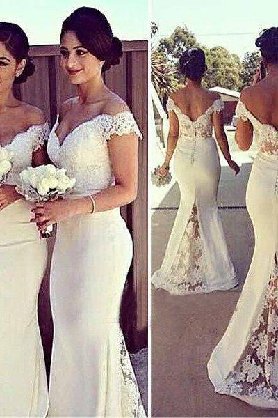 Custom Made White Off-Shoulder Lace and Chiffon Long Buttoned Back Mermaid Evening Dress, Prom Dresses, Bridesmaid Dresses, Bridal Collection