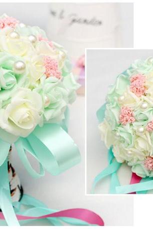 New Arrival Wedding Bouquet Handmade Flowers Mint and Ivory Bridal Bouquet Wedding bouquets