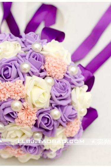 New Arrival Wedding Bouquet Handmade Flowers Purple and Ivory Bridal Bouquet Wedding bouquets