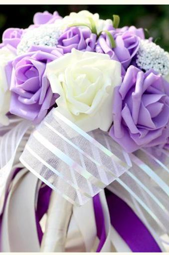 New Arrival Wedding Bouquet Handmade Flowers Purple and White Bridal Bouquet Wedding bouquets