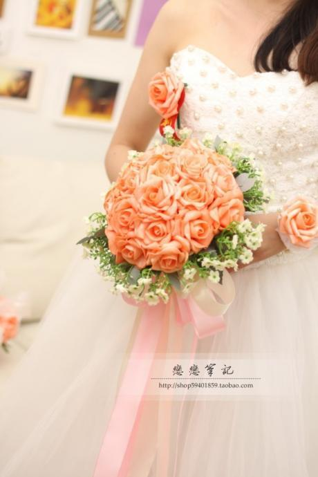 New Arrival Wedding Bouquet Handmade Flowers Orange Bridal Bouquet Wedding Bouquets
