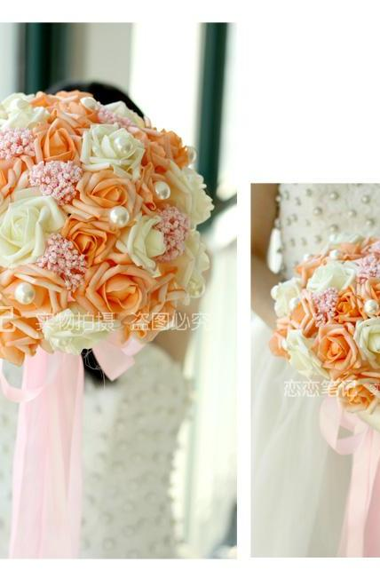 New Arrival Wedding Bouquet Handmade Flowers Orange and Ivory Bridal Bouquet Wedding bouquets