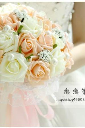 New Arrival Wedding Bouquet Handmade Flowers Light Orange and Ivory Bridal Bouquet Wedding bouquets
