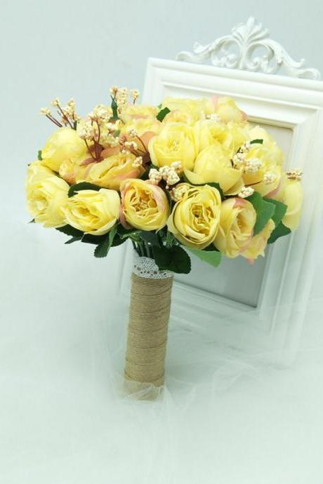 New Arrival Wedding Bouquet Handmade Flowers Yellow Bridal Bouquet Wedding bouquets