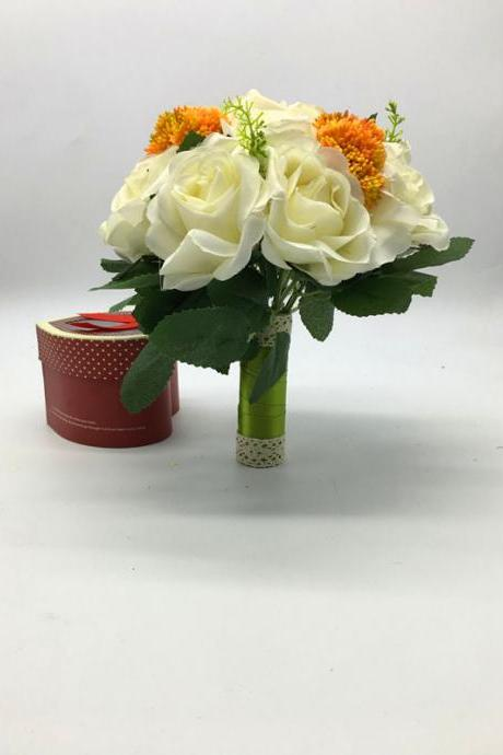 New Arrival Wedding Bouquet Handmade Flowers Ivory with Orange Decoration Bridal Bouquet Wedding bouquets
