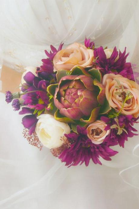New Arrival Wedding Bouquet Handmade Flowers Purple Peony Bridal Bouquet Wedding bouquets