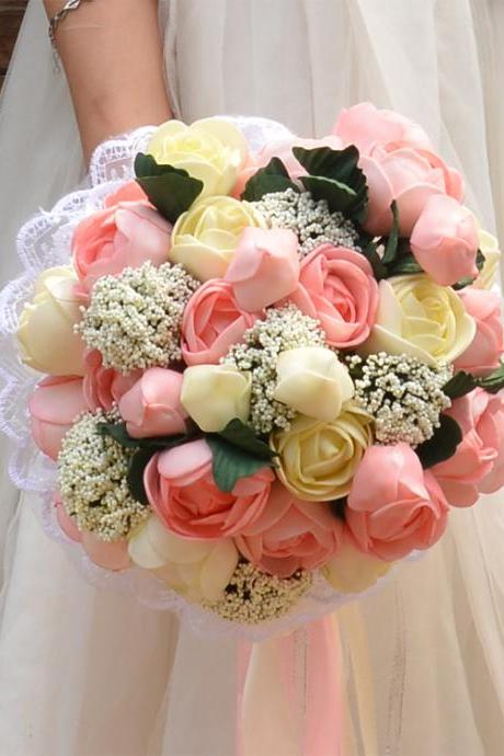 New Arrival Wedding Bouquet Handmade Flowers Pink and Ivory Peony Bridal Bouquet Wedding bouquets